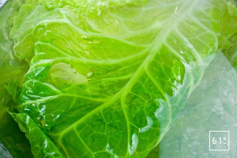 Blanchir les feuilles de chou vert