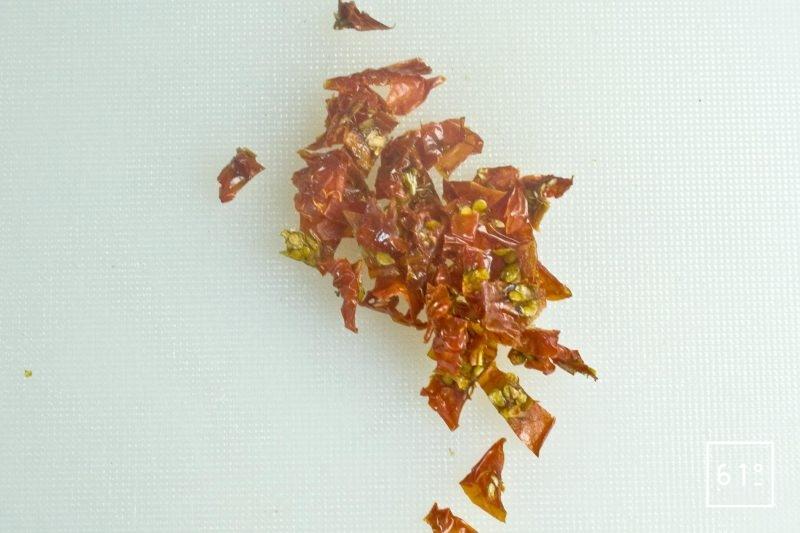 Tomates déshydratées coupées en morceaux de 5 mm
