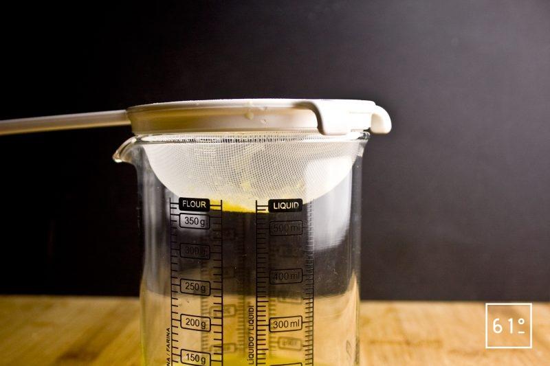 Filtrer le mélange cuit de zeste de citron et de vinaigre