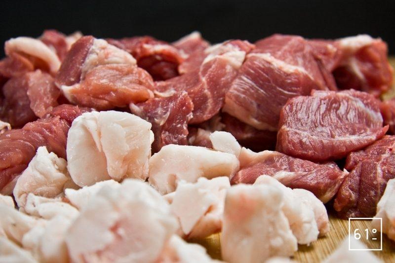 Découper la viande et le gras en cubes de 2,5 cm