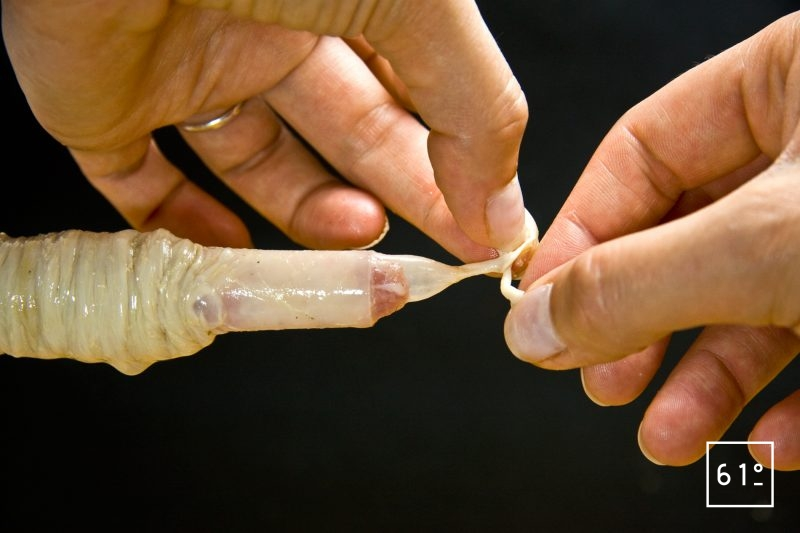 Faire un nœud à l'extrémité du boyau le plus près possible de la chair à saucisse pour éviter les bulles d'air