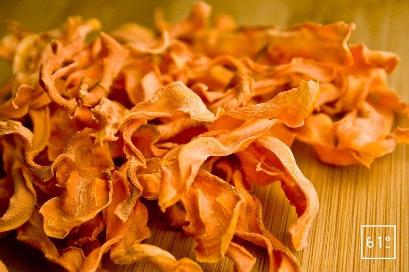 Chips de carotte déshydratées