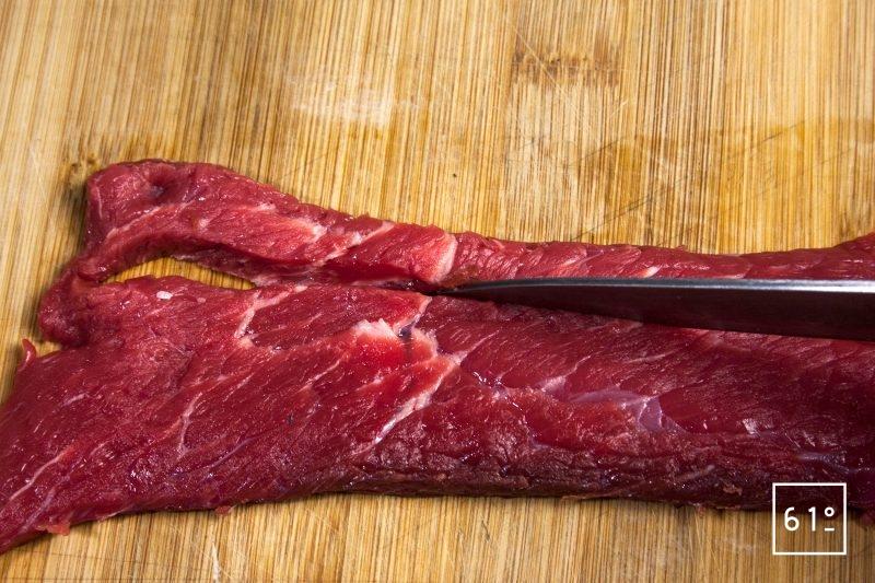 Découper en lanières de 1 cm la viande de bœuf
