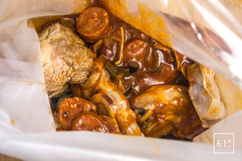Déposer les ingrédients dans un sac pour la cuisson sous vide
