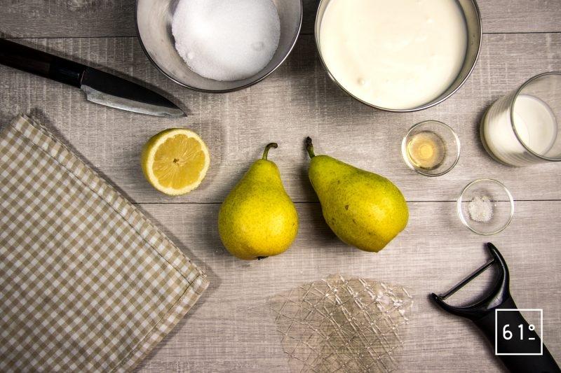 Ingrédients Panna cotta moderne poire et rhum
