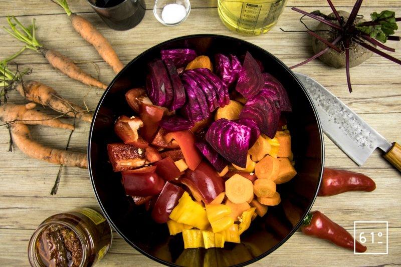 Découper les légumes en morceaux