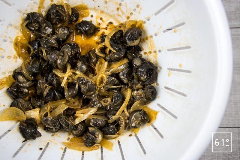 Escargots à l'italienne préparés à basse température sous vide-filtrer et conserver le jus
