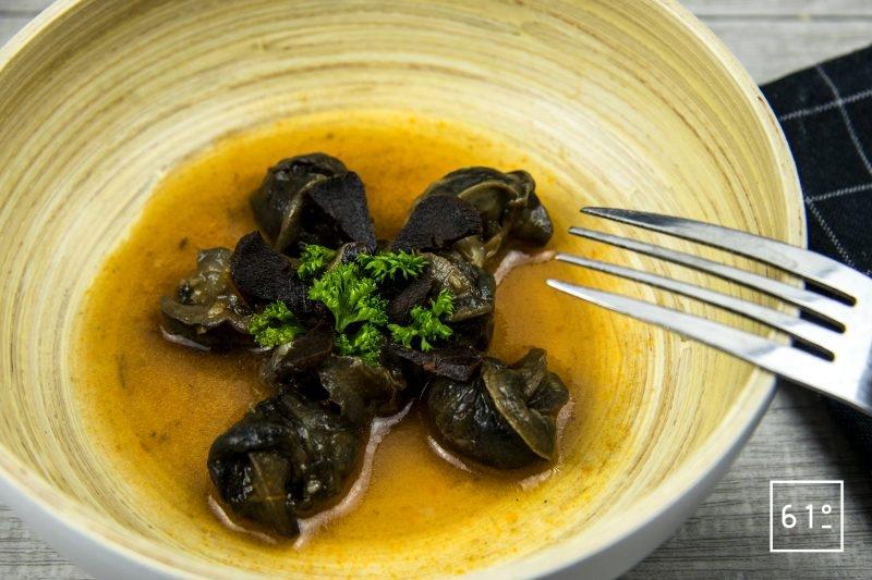 Escargots à l'italienne préparés à basse température sous vide à 68 °C pendant 8 heures.