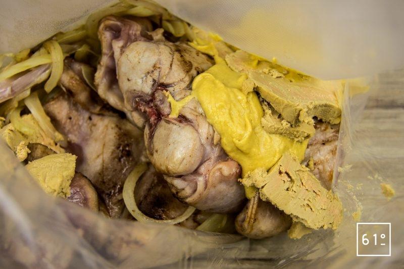 Lapin à la moutarde et au foie gras - mettre sous vide
