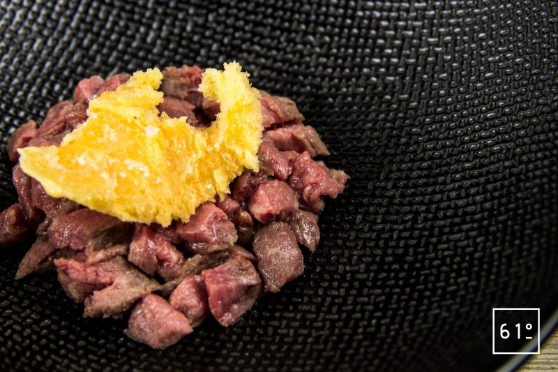 Tartare de bœuf et sa glace à l'échalote
