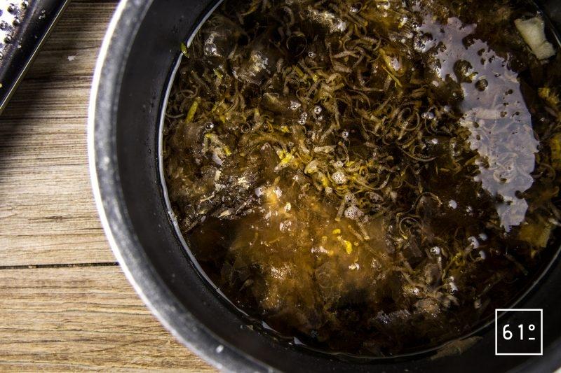Foie de lotte Ankimo - ajouter au cédrat et bonite le mirin, le vin de shaoxing, la sauce soja et le vinaigre de riz