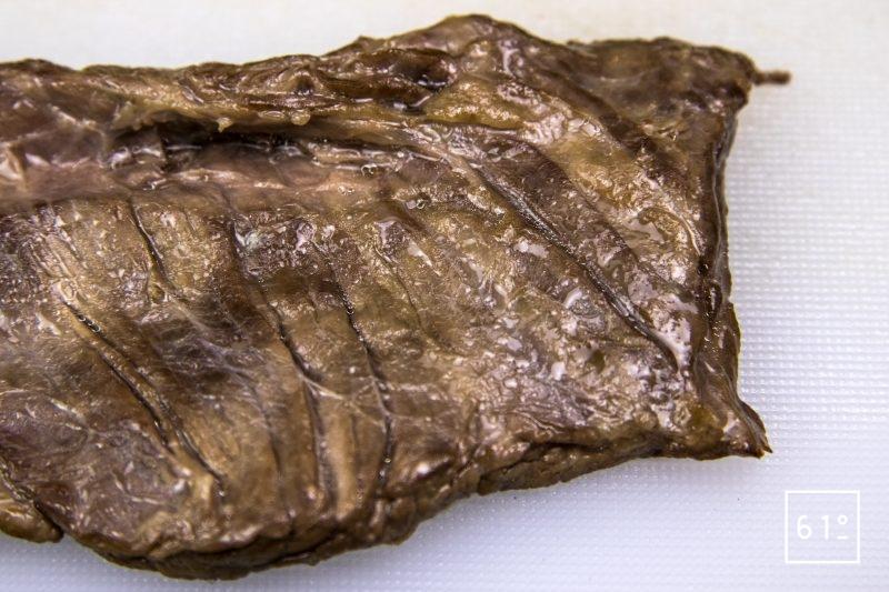 Hampe cuite à basse température sous vide