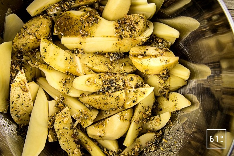 Original Dust pour potatoes et marinade de porc - Mélanger la marinade avec les potatoes
