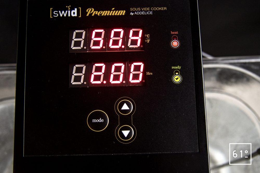 Thermoplongeur à platine Swid Premium - Température dans le bac après 10 minutes de stabilisation