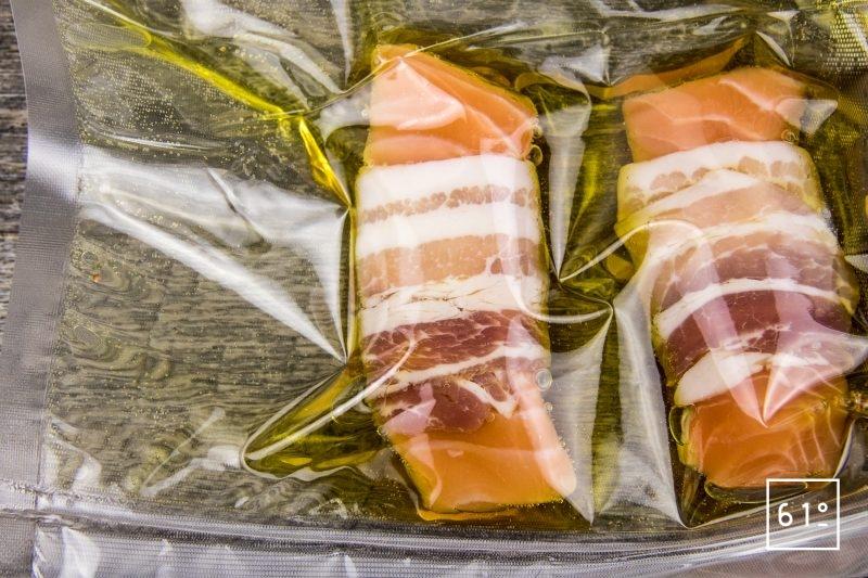 Saumon confit flamme - barder - mettre sous vide