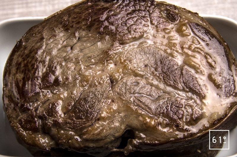 Porc noir de Bigorre en petit salé sur lit de lentilles - saisir après cuisson
