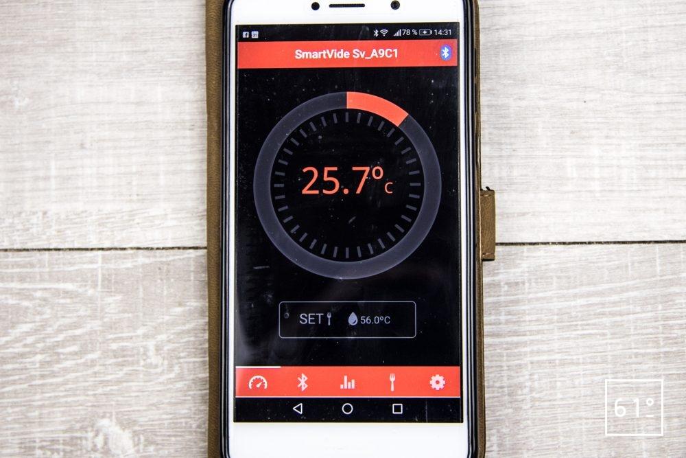 Thermoplongeur SmartVIde 8 plus de chez Sammic - suivre le déroulement de la cuisson sur le téléphone