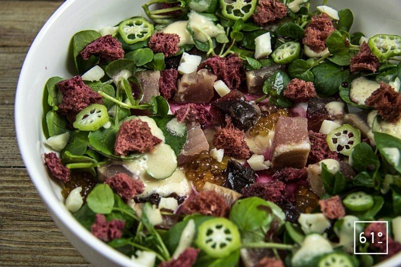 Salade de cresson et thon cuit à basse température