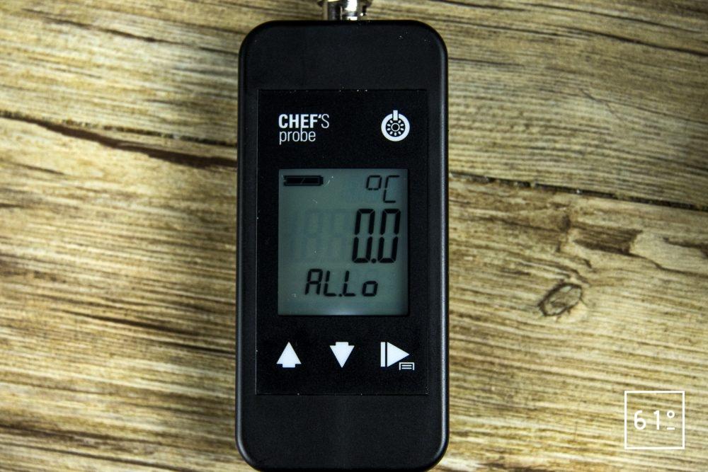 Sonde Pt 1000 Chef's Probe - réglage alarme température mini