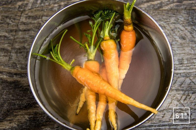 Faux filet de Simmental basse température accompagné de carottes et sauce carotte - laver les carottes