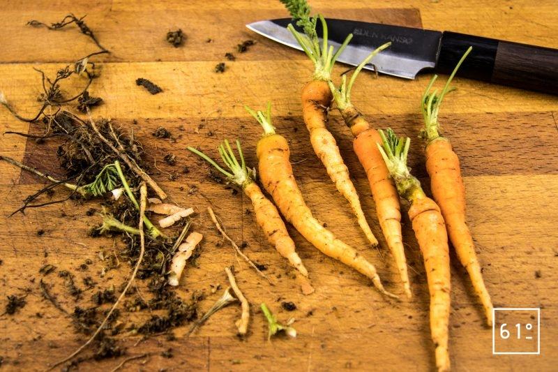 Faux filet de Simmental basse température accompagné de carottes et sauce carotte - préparer les carottes