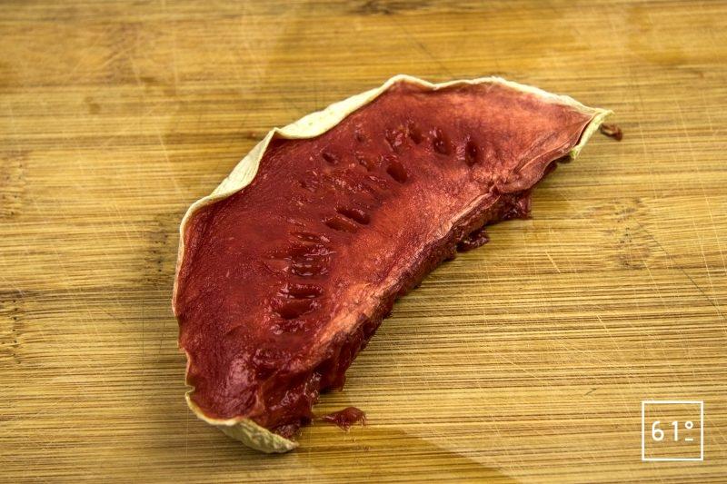 Carpaccio de veau grain de soie et de pastèque - déshydrater