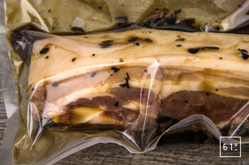 Poitrine de porc et pâtes aux cèpes - mettre sous vide