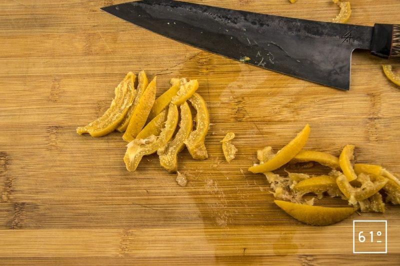 Crème de citron - découper le citron