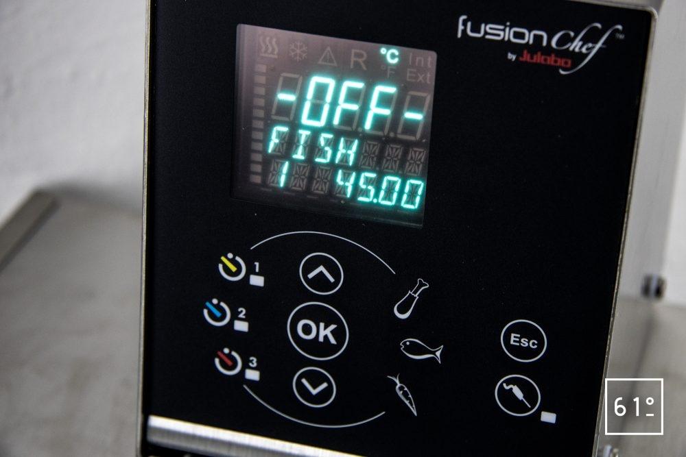 Test du thermoplongeur Diamond de FusionChef Julabo - les commandes
