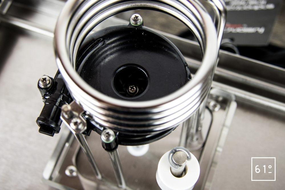 Test du thermoplongeur Diamond de FusionChef Julabo - le système de chauffe vue de haut