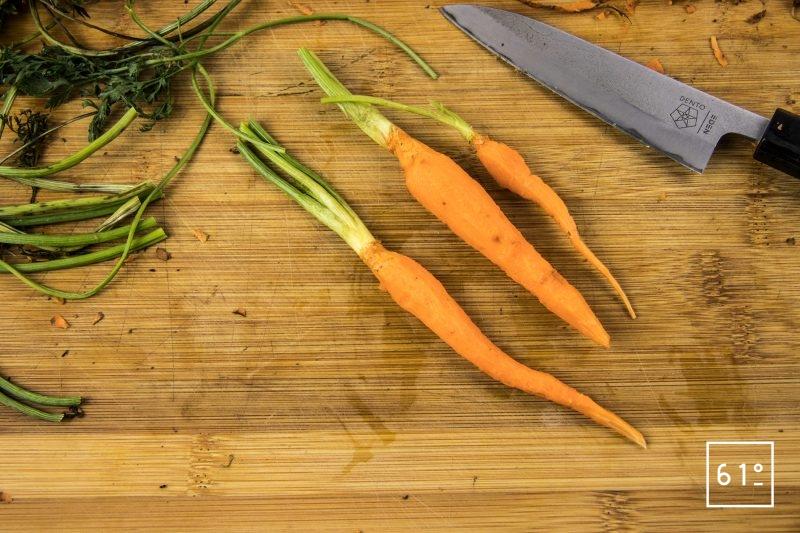 Magret de canard basse température sous vide et carottes glacées au yuzu - préparer les carottes