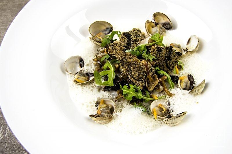 Coques et noix de Saint Jacques, accompagnées de salade d'algues au Xipister