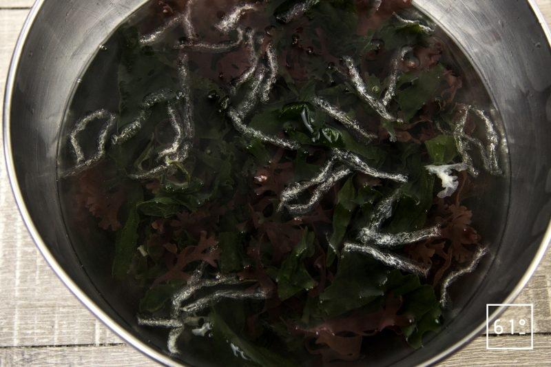 Couqes et noix de Saint Jacques, accompagner de salade d'algues au Xipister - réhydrater