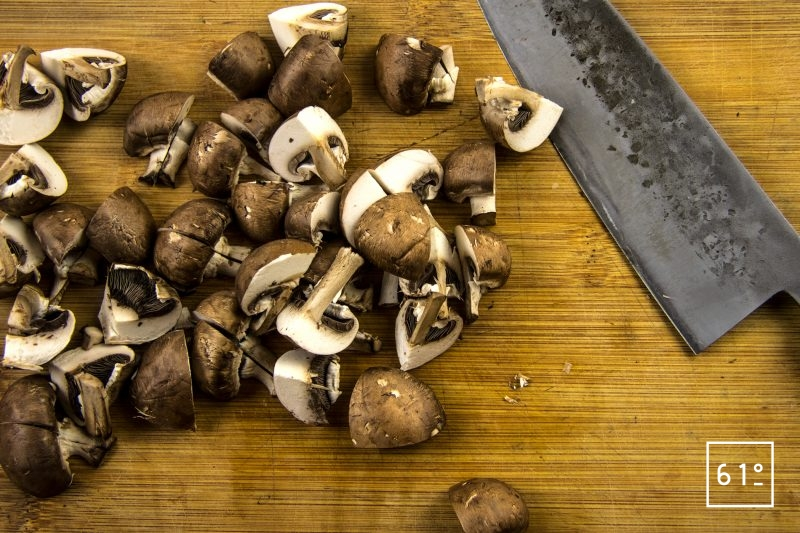 Bœuf Marengo - préparer les champignons bruns