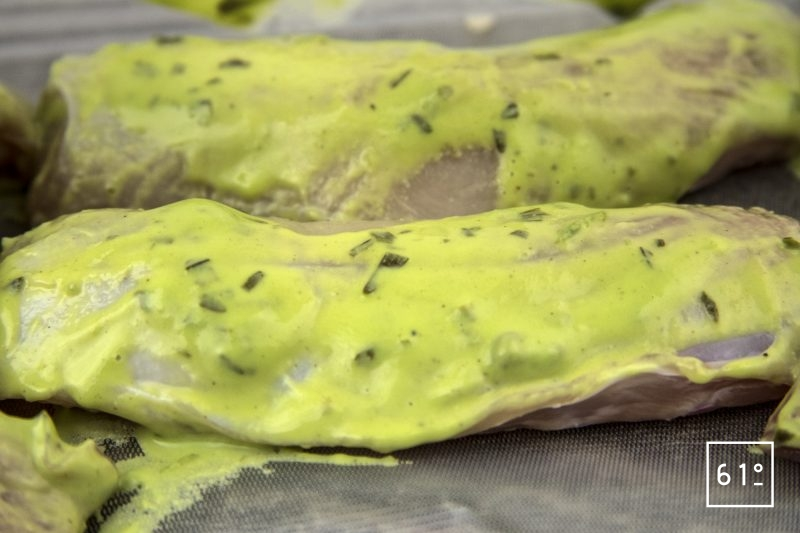 Râbles de lapin à la moutarde à l'estragon - mettre sous vide les râbles