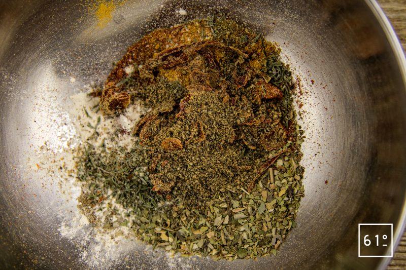 Mélange d'épices tex mex - rassembler les épices