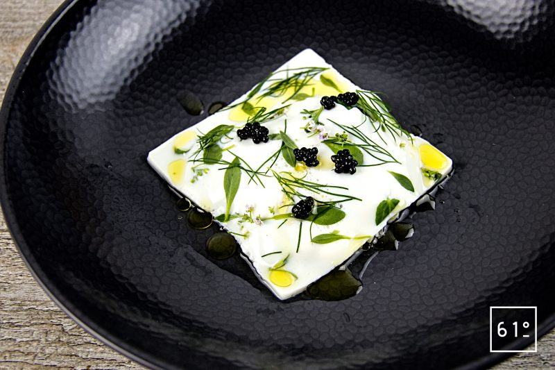 Voile de fromage ricotta fumée aux herbes