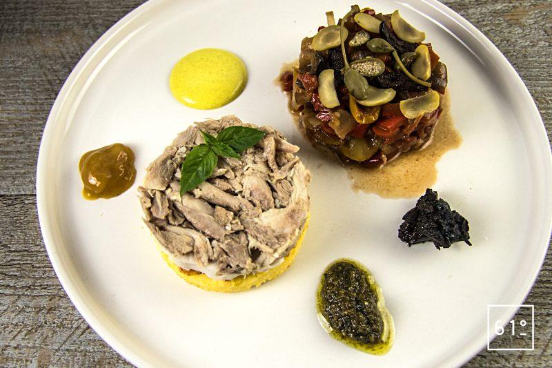 Poularde de Bresse, caponata et ses sauces